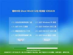 雨林木风Ghost Win10 (X32) 精选纯净版2018v03(自动激活)